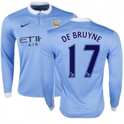 Men's 17 Kevin De Bruyne Manchester City FC Jersey - 15/16 Premier League Club Nike Replica Sky Blue Home Soccer Long Sleeve Shi