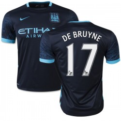 Men's 17 Kevin De Bruyne Manchester City FC Jersey - 15/16 Spain Football Club Nike Authentic Navy Away Soccer Short Shirt