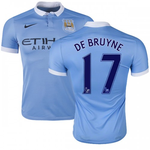 the latest 3977c e1bbc Men's 17 Kevin De Bruyne Manchester City FC Jersey - 15/16 Spain Football  Club Nike Authentic Sky Blue Home Soccer Short Shirt