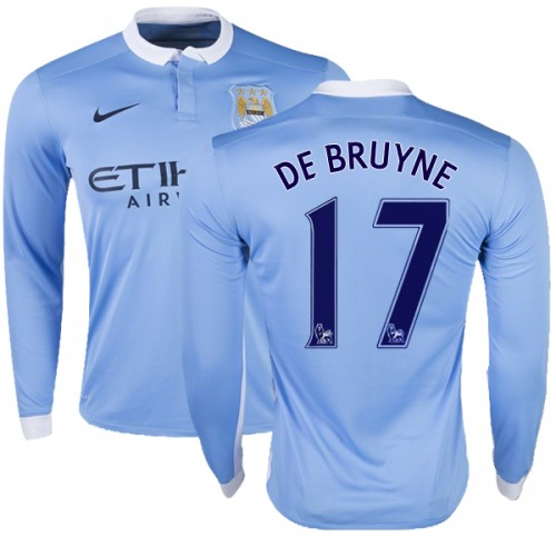 low priced a4af1 5e5c2 Youth 17 Kevin De Bruyne Manchester City FC Jersey - 15/16 Premier League  Club Nike Authentic Sky Blue Home Soccer Long Sleeve Shirt
