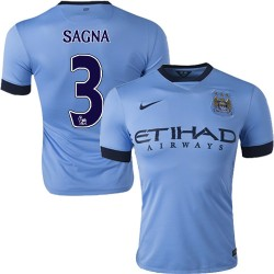 Men's 3 Bacary Sagna Manchester City FC Jersey - 14/15 Spain Football Club Nike Authentic Sky Blue Home Soccer Short Shirt