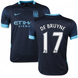 Youth 17 Kevin De Bruyne Manchester City FC Jersey - 15/16 Spain Football Club Nike Replica Navy Away Soccer Short Shirt