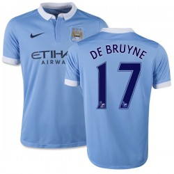 Youth 17 Kevin De Bruyne Manchester City FC Jersey - 15/16 Spain Football Club Nike Replica Sky Blue Home Soccer Short Shirt