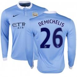 Men's 26 Martin Demichelis Manchester City FC Jersey - 15/16 Premier League Club Nike Authentic Sky Blue Home Soccer Long Sleeve