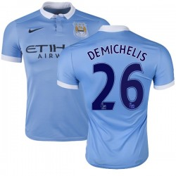 Men's 26 Martin Demichelis Manchester City FC Jersey - 15/16 Spain Football Club Nike Authentic Sky Blue Home Soccer Short Shirt