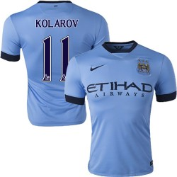 Men's 11 Aleksandar Kolarov Manchester City FC Jersey - 14/15 Spain Football Club Nike Authentic Sky Blue Home Soccer Short Shir