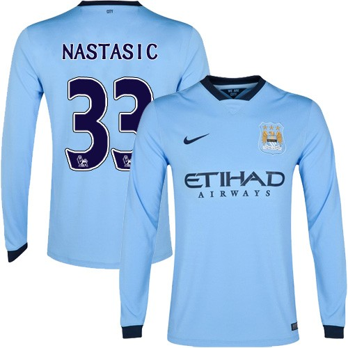 Men's 33 Matija Nastasic Manchester City FC Jersey - 14/15 Spain Football Club Nike Authentic Sky Blue Home Soccer Long Sleeve S