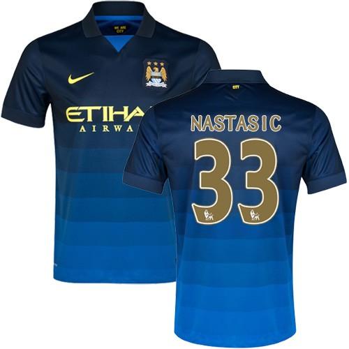 Men's 33 Matija Nastasic Manchester City FC Jersey - 14/15 Spain Football Club Nike Replica Dark Blue Away Soccer Short Shirt