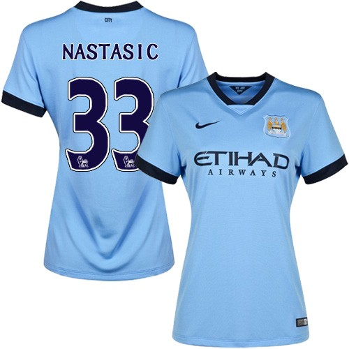 Women's 33 Matija Nastasic Manchester City FC Jersey - 14/15 Spain Football Club Nike Authentic Sky Blue Home Soccer Short Shirt