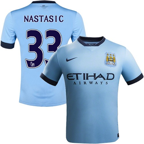Youth 33 Matija Nastasic Manchester City FC Jersey - 14/15 Spain Football Club Nike Authentic Sky Blue Home Soccer Short Shirt