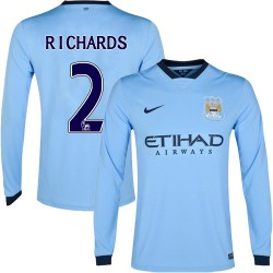 Men's 2 Micah Richards Manchester City FC Jersey - 14/15 Spain Football Club Nike Authentic Sky Blue Home Soccer Long Sleeve Shi
