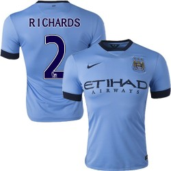 Men's 2 Micah Richards Manchester City FC Jersey - 14/15 Spain Football Club Nike Authentic Sky Blue Home Soccer Short Shirt