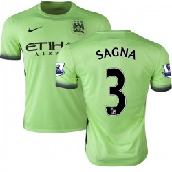 Men's 3 Bacary Sagna Manchester City FC Jersey - 15/16 Premier League Club Nike Authentic Light Green Third Soccer Short Shirt