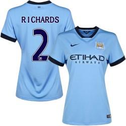 Women's 2 Micah Richards Manchester City FC Jersey - 14/15 Spain Football Club Nike Replica Sky Blue Home Soccer Short Shirt