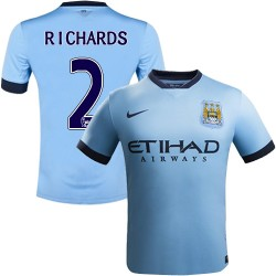 Youth 2 Micah Richards Manchester City FC Jersey - 14/15 Spain Football Club Nike Authentic Sky Blue Home Soccer Short Shirt
