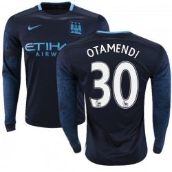 Men's 30 Nicolas Otamendi Manchester City FC Jersey - 15/16 Premier League Club Nike Authentic Navy Away Soccer Long Sleeve Shir