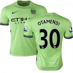 Men's 30 Nicolas Otamendi Manchester City FC Jersey - 15/16 Premier League Club Nike Replica Light Green Third Soccer Short Shir