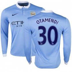 Men's 30 Nicolas Otamendi Manchester City FC Jersey - 15/16 Premier League Club Nike Replica Sky Blue Home Soccer Long Sleeve Sh