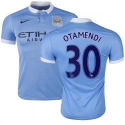 Men's 30 Nicolas Otamendi Manchester City FC Jersey - 15/16 Spain Football Club Nike Authentic Sky Blue Home Soccer Short Shirt