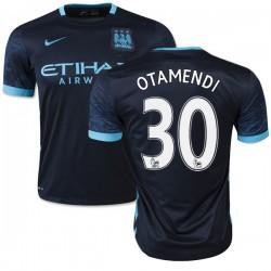 Men's 30 Nicolas Otamendi Manchester City FC Jersey - 15/16 Spain Football Club Nike Replica Navy Away Soccer Short Shirt