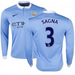 Men's 3 Bacary Sagna Manchester City FC Jersey - 15/16 Premier League Club Nike Authentic Sky Blue Home Soccer Long Sleeve Shirt