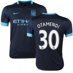 Youth 30 Nicolas Otamendi Manchester City FC Jersey - 15/16 Spain Football Club Nike Authentic Navy Away Soccer Short Shirt