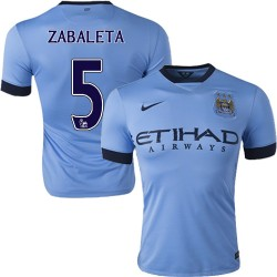 Men's 5 Pablo Zabaleta Manchester City FC Jersey - 14/15 Spain Football Club Nike Authentic Sky Blue Home Soccer Short Shirt