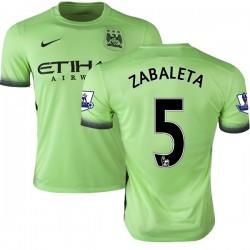 Men's 5 Pablo Zabaleta Manchester City FC Jersey - 15/16 Premier League Club Nike Authentic Light Green Third Soccer Short Shirt