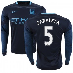 Men's 5 Pablo Zabaleta Manchester City FC Jersey - 15/16 Premier League Club Nike Authentic Navy Away Soccer Long Sleeve Shirt