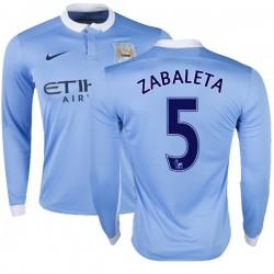 Men's 5 Pablo Zabaleta Manchester City FC Jersey - 15/16 Premier League Club Nike Authentic Sky Blue Home Soccer Long Sleeve Shi