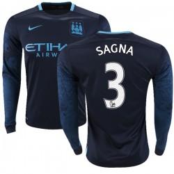 Men's 3 Bacary Sagna Manchester City FC Jersey - 15/16 Premier League Club Nike Replica Navy Away Soccer Long Sleeve Shirt