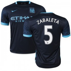 Men's 5 Pablo Zabaleta Manchester City FC Jersey - 15/16 Spain Football Club Nike Replica Navy Away Soccer Short Shirt