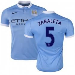 Men's 5 Pablo Zabaleta Manchester City FC Jersey - 15/16 Spain Football Club Nike Replica Sky Blue Home Soccer Short Shirt