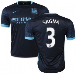 Men's 3 Bacary Sagna Manchester City FC Jersey - 15/16 Spain Football Club Nike Authentic Navy Away Soccer Short Shirt