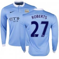 Men's 27 Patrick Roberts Manchester City FC Jersey - 15/16 Premier League Club Nike Replica Sky Blue Home Soccer Long Sleeve Shi