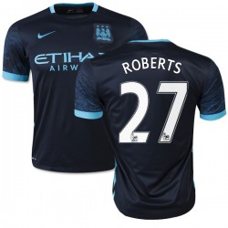 Men's 27 Patrick Roberts Manchester City FC Jersey - 15/16 Spain Football Club Nike Authentic Navy Away Soccer Short Shirt
