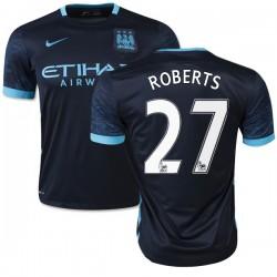 Men's 27 Patrick Roberts Manchester City FC Jersey - 15/16 Spain Football Club Nike Replica Navy Away Soccer Short Shirt