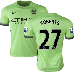 Youth 27 Patrick Roberts Manchester City FC Jersey - 15/16 Premier League Club Nike Authentic Light Green Third Soccer Short Shi