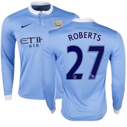 Youth 27 Patrick Roberts Manchester City FC Jersey - 15/16 Premier League Club Nike Replica Sky Blue Home Soccer Long Sleeve Shi