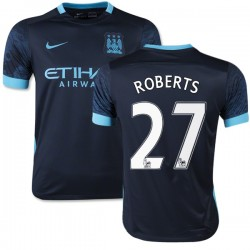 Youth 27 Patrick Roberts Manchester City FC Jersey - 15/16 Spain Football Club Nike Authentic Navy Away Soccer Short Shirt