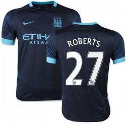 Youth 27 Patrick Roberts Manchester City FC Jersey - 15/16 Spain Football Club Nike Replica Navy Away Soccer Short Shirt