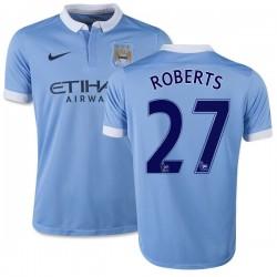 Youth 27 Patrick Roberts Manchester City FC Jersey - 15/16 Spain Football Club Nike Replica Sky Blue Home Soccer Short Shirt