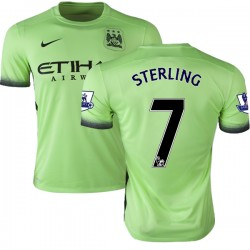 Men's 7 Raheem Sterling Manchester City FC Jersey - 15/16 Premier League Club Nike Authentic Light Green Third Soccer Short Shir