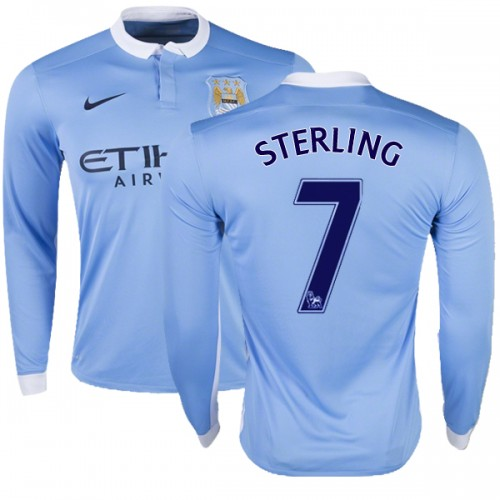 low priced e638e af4d9 Men's 7 Raheem Sterling Manchester City FC Jersey - 15/16 Premier League  Club Nike Authentic Sky Blue Home Soccer Long Sleeve Shirt