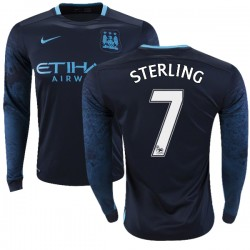 Men's 7 Raheem Sterling Manchester City FC Jersey - 15/16 Premier League Club Nike Replica Navy Away Soccer Long Sleeve Shirt