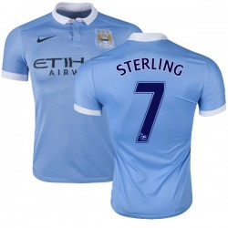 Men's 7 Raheem Sterling Manchester City FC Jersey - 15/16 Spain Football Club Nike Authentic Sky Blue Home Soccer Short Shirt