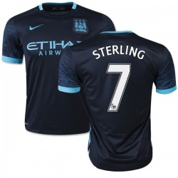 Men's 7 Raheem Sterling Manchester City FC Jersey - 15/16 Spain Football Club Nike Replica Navy Away Soccer Short Shirt