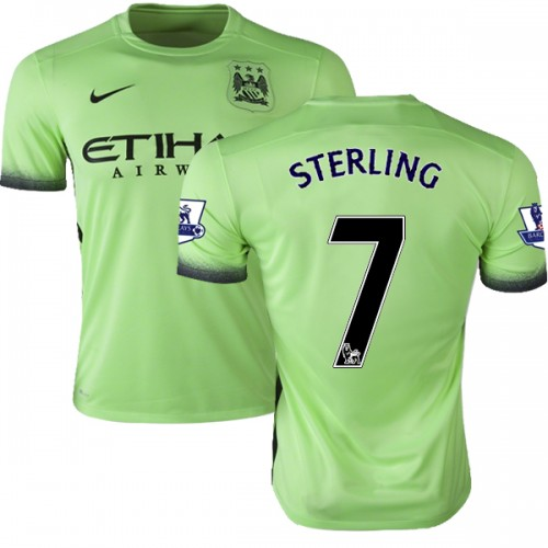 new styles d0889 7bbc9 Youth 7 Raheem Sterling Manchester City FC Jersey - 15/16 Premier League  Club Nike Authentic Light Green Third Soccer Short Shirt