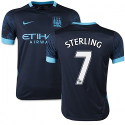 Youth 7 Raheem Sterling Manchester City FC Jersey - 15/16 Spain Football Club Nike Replica Navy Away Soccer Short Shirt