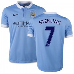 Youth 7 Raheem Sterling Manchester City FC Jersey - 15/16 Spain Football Club Nike Replica Sky Blue Home Soccer Short Shirt
